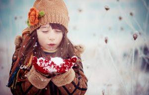 зима, снег, ребенок, девочка, дети