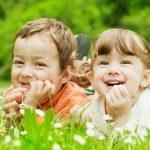 дети, весна, лето, трава, цветы, мальчик, девочка