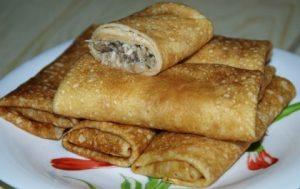 Рецепт блинов с шампиньонами и сыром