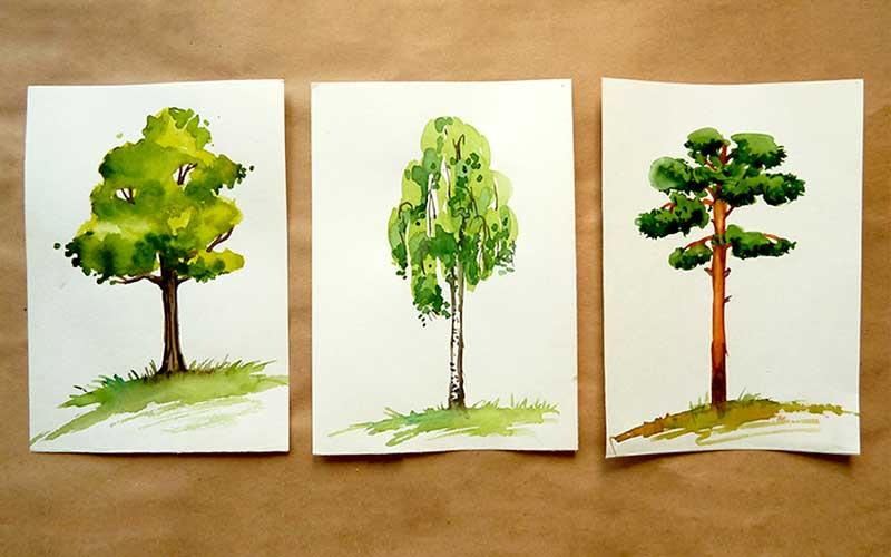 Рисуем деревья акварелью деревья