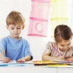 рисует, садик, дети