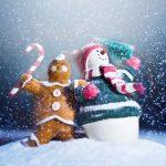 снег, снеговик, печенье, зима