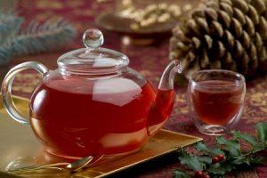 чай, рождество, зима, напиток, шиповник, клюква