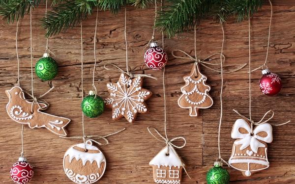 елочные игрушки, елка, новый год, печенье