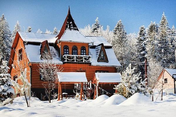 святий миколая, карпати, ліс, котедж, зима, новий рік