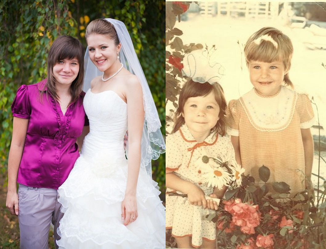 На фото я и моя сестричка - вот такие мы были в детстве, а вот какие выросли