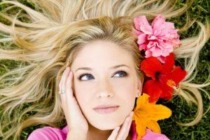 девушка, весна, кожа, волосы, цветы, лето