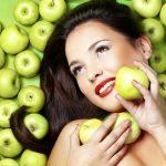 кожа, яблоки, девушка