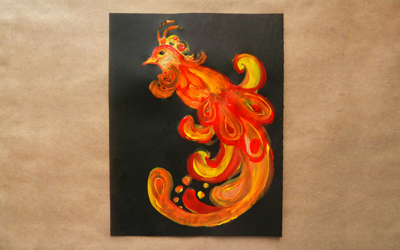 Мастер-класс: рисуем гуашью Жар-птицу