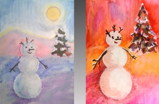 Новогодний мастер-класс: рисуем снеговика красками