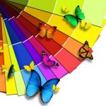 цвета, радуга, бабочки